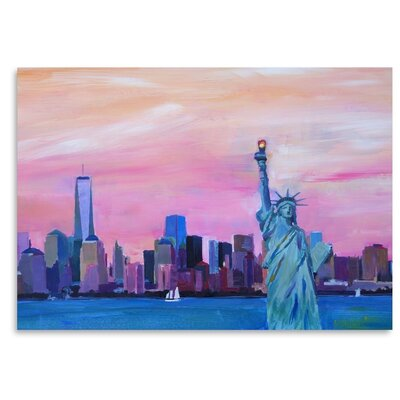 Americanflat 'Manhattan Skyline With Downtown Skyline And Statue Of Liberty' by M Bleichner Art Print