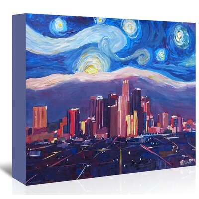 Americanflat 'Starry Night In Los Angeles' by M Bleichner Art Print Wrapped on Canvas