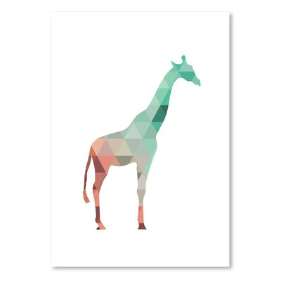 Americanflat Mint Coral Giraffe Up To' by Melinda Wood Graphic Art
