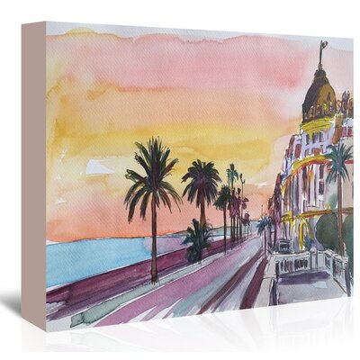 Americanflat 'Nice France Seaview At Sunset' by M Bleichner Art Print Wrapped on Canvas