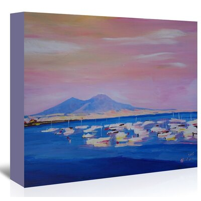 Americanflat 'Boats In Gulf Of Naples Italy With Vesuvius' by M Bleichner Art Print Wrapped on Canvas