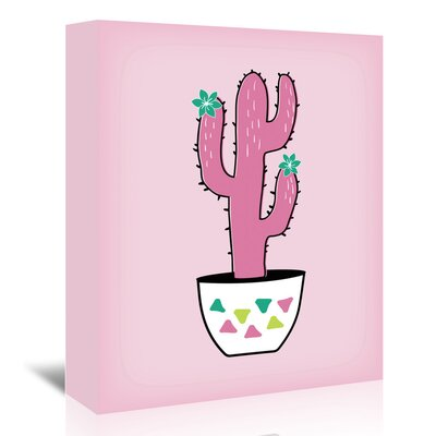 Americanflat 'Pink Cactus' by Ashlee Rae Graphic Art Wrapped on Canvas
