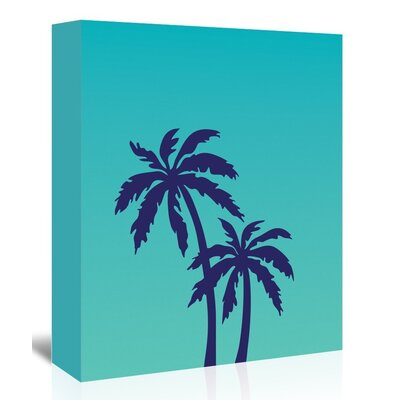 Americanflat 'Palm Tree on Teal' by Ashlee Rae Graphic Art Wrapped on Canvas