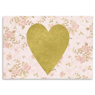 Americanflat 'Heart on Floral' Graphic Art Wrapped on Canvas