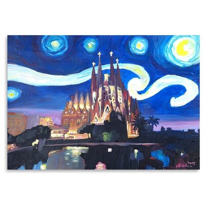 Americanflat 'Starry Night In Barcelona' by M Bleichner Art Print