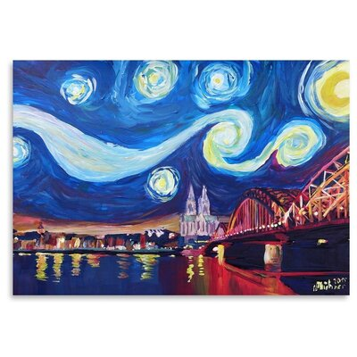 Americanflat 'Starry Night In Cologne' by M Bleichner Art Print