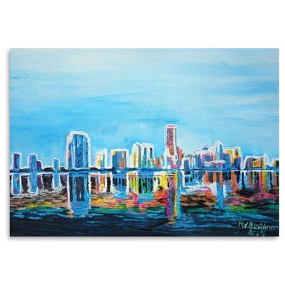 Americanflat 'Miami Skyline Silhouette' by M Bleichner Art Print