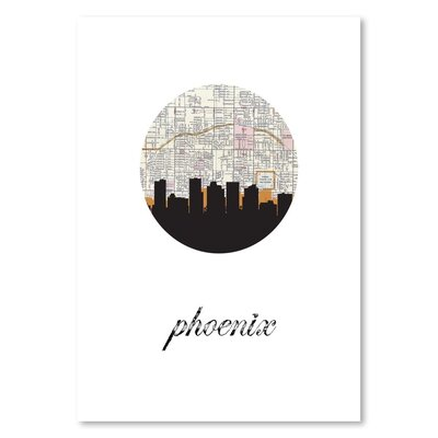 Americanflat 'Phoenix Map Skyline' by PaperFinch Graphic Art