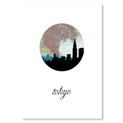 Americanflat 'Tokyo Map Skyline' by PaperFinch Graphic Art