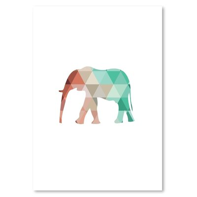 Americanflat 'Mint Coral Elephant Up To' by Melinda Wood Graphic Art
