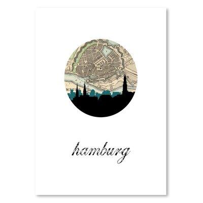 Americanflat 'Hamburg Map Skyline' by PaperFinch Graphic Art