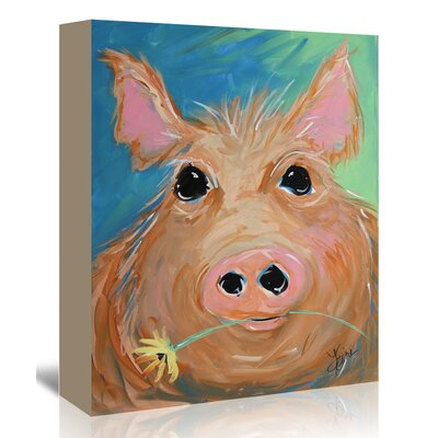 Americanflat 'Pig with Yellow Flower' by Terri Einer Art Print Wrapped on Canvas