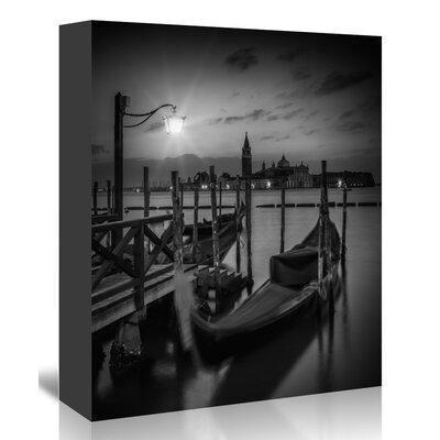 Americanflat Venice Gondolas at Sunrise Monochrome' by Melanie Viola Photographic Print Wrapped on Canvas