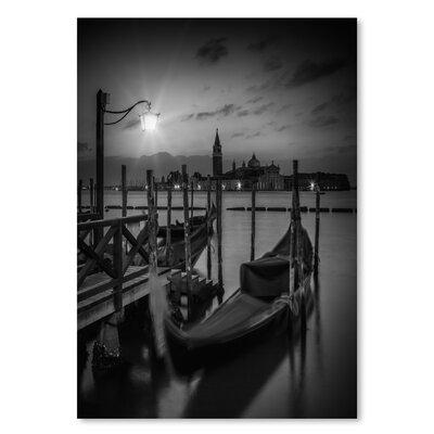 Americanflat Venice Gondolas at Sunrise - Monochrome' by Melanie Viola Photographic Print