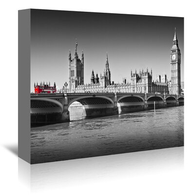 Americanflat 'London Red Bus on Westminster Bridge' by Melanie Viola Photographic Print Wrapped on Canvas