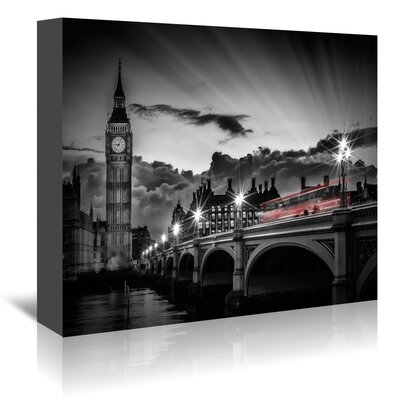 Americanflat 'London Westminster Bridge with Bus at Sunset' by Melanie Viola Photographic Print Wrapped on Canvas