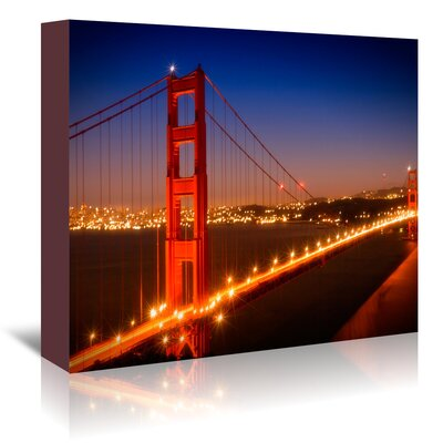 Americanflat 'Evening Cityscape of Golden Gate Bridge' by Melanie Viola Photographic Print Wrapped on Canvas