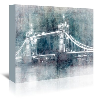 Americanflat 'Tower Bridge at Night' by Melanie Viola Graphic Art Wrapped on Canvas