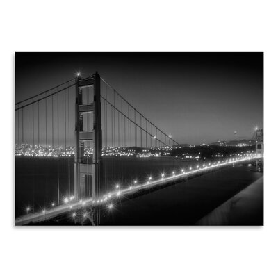 Americanflat 'Evening Cityscape of Golden Gate Bridge Monochrome' by Melanie Viola Photographic Print