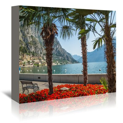 Americanflat 'Lake Garda Limone Sul Garda Lakeside' by Melanie Viola Photographic Print Wrapped on Canvas