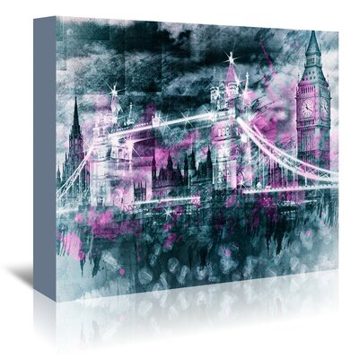 Americanflat 'Modern London Tower Bridge and Big Ben Composing' by Melanie Viola Graphic Art Wrapped on Canvas