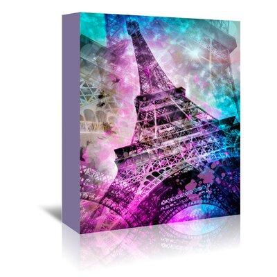 Americanflat 'Pop Paris Eiffel Tower' by Melanie Viola Graphic Art Wrapped on Canvas