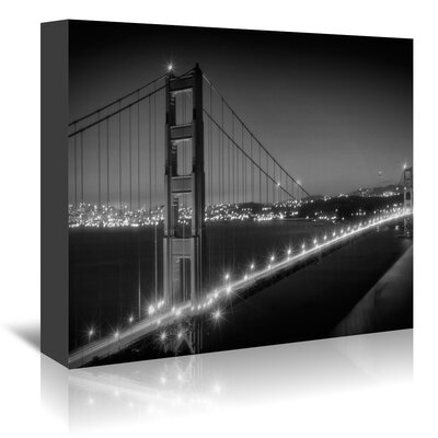 Americanflat 'Evening Cityscape of Golden Gate Bridge Monochrome' by Melanie Viola Photographic Print Wrapped on Canvas
