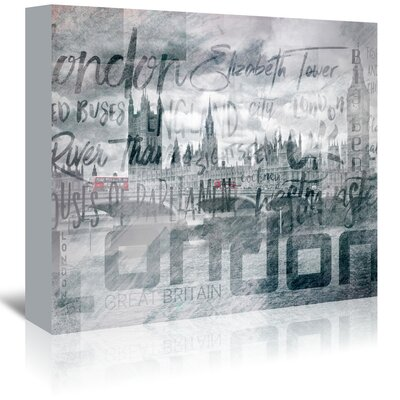 Americanflat 'London Houses of Parliament and Red Buses' by Melanie Viola Graphic Art Wrapped on Canvas