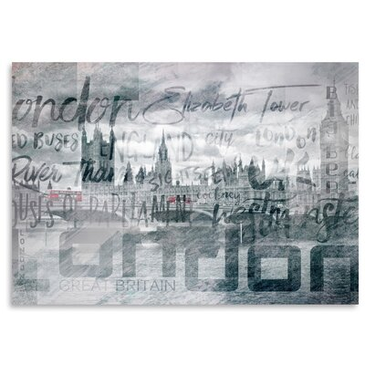 Americanflat 'London Houses of Parliament and Red Buses' by Melanie Viola Graphic Art