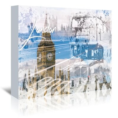 Americanflat 'City London Westminster Collage' by Melanie Viola Graphic Art Wrapped on Canvas