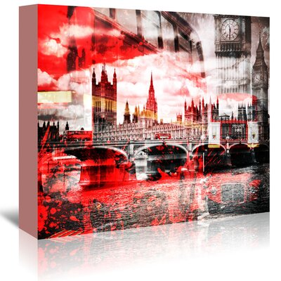 Americanflat 'City London Bus Composing' by Melanie Viola Graphic Art Wrapped on Canvas