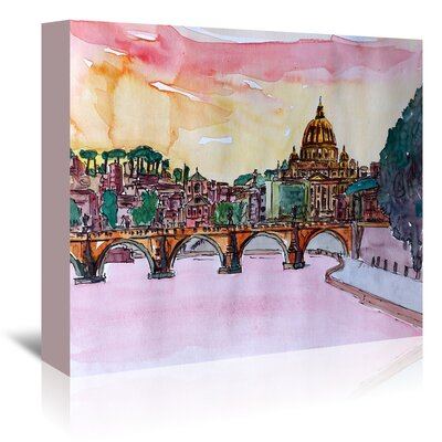 Americanflat 'Vatican Rome Italy Sunset on River Tiber with St Peter I' by Markus Bleichner Art Print Wrapped on Canvas