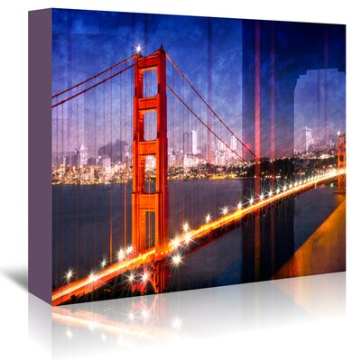 Americanflat 'City Golden Gate Bridge Composing' by Melanie Viola Graphic Art Wrapped on Canvas