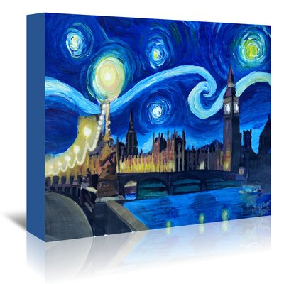 Americanflat 'Starry Night London Parliament Van Gogh Inspirations in England' by Markus Bleichner Art Print Wrapped on Canvas