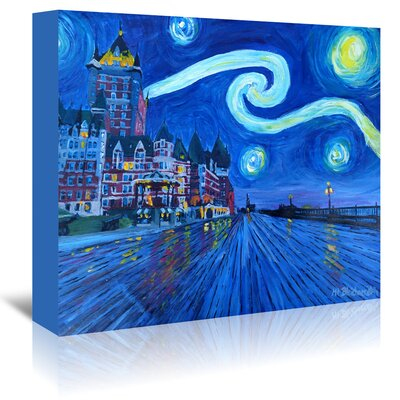 Americanflat 'Starry Night Quebec Chateau Frontenac Van Gogh Inspirations' by Markus Bleichner Art Print Wrapped on Canvas