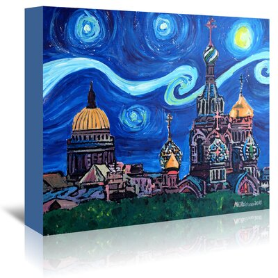 Americanflat 'Starry Night in St Petersburg Russia' by Markus Bleichner Art Print Wrapped on Canvas
