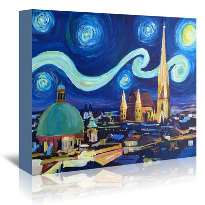 Americanflat 'Starry Night in Vienna Austria - Saint Stephan Cathedral Van Gogh Inspirations' by Markus Bleichner Art Print Wrapped on Canvas