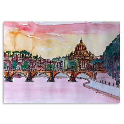 Americanflat 'Vatican Rome Italy Sunset on River Tiber with St Peter I' by Markus Bleichner Art Print