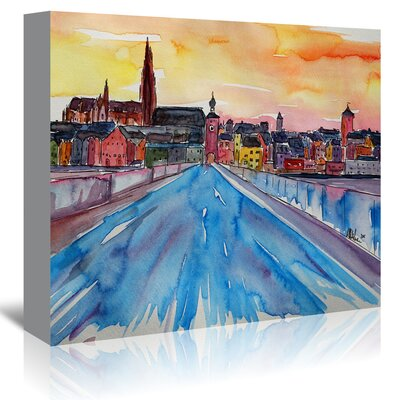 Americanflat 'Regensburg Pearl on Danube from Stone Bridge 2' by Markus Bleichner Art Print Wrapped on Canvas