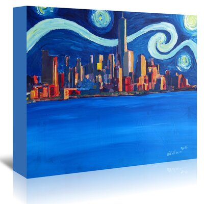 Americanflat 'Starry Night in New York City - Freedom Tower Manhattan Van Gogh Inspirations 2' by Markus Bleichner Art Print Wrapped on Canvas