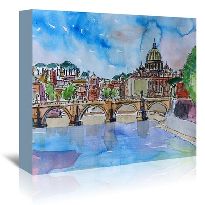 Americanflat 'Vatican Rome Italy on River Tiber with St Peter II' by Markus Bleichner Art Print Wrapped on Canvas