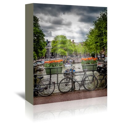 Americanflat 'Amsterdam Gentlemencanal Bicycles' by Melanie Viola Photographic Print Wrapped on Canvas