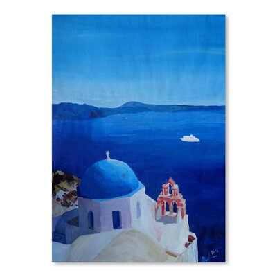 Americanflat 'All Santorini Oia Greece with Cruise Ship' by Markus Bleichner Art Print