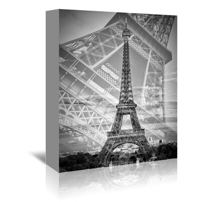 Americanflat 'Eiffel Tower Double Exposure II Monochrome' by Melanie Viola Graphic Art Wrapped on Canvas