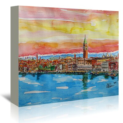 Americanflat 'Fabulous Venice Italy with Snowcovered Alps 2' by Markus Bleichner Art Print Wrapped on Canvas
