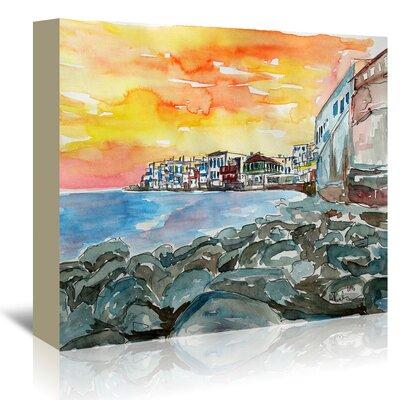 Americanflat 'Magnificient Mykonos Sunset Scene Little Venice 2' by Markus Bleichner Art Print Wrapped on Canvas