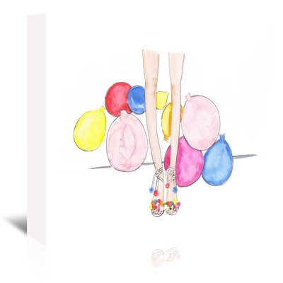 Americanflat 'Pom Poms and Balloons' by Alison B Art Print Wrapped on Canvas