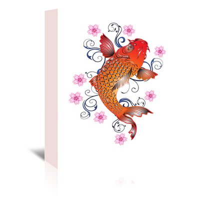 Americanflat Wonderful Dream Koi with Floral Design Graphic Art Wrapped on Canvas