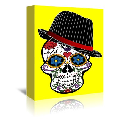 Americanflat Wonderful Dream Hipster Skull Horror in Yellow Graphic Art Wrapped on Canvas