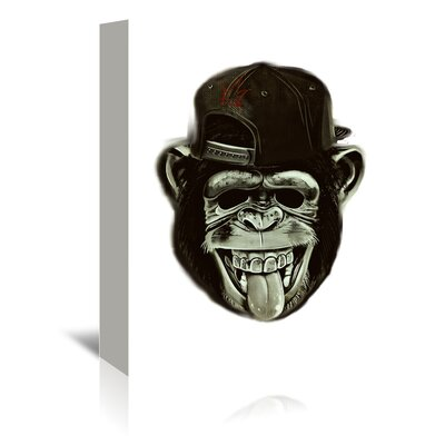 Americanflat Wonderful Dream Hipster Monkey Graphic Art Wrapped on Canvas